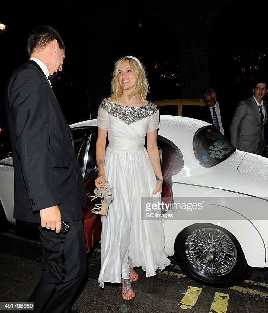 Fearne Cotton and Jesse Wood arrive at their hotel after getting married on July 4 2014 in London England