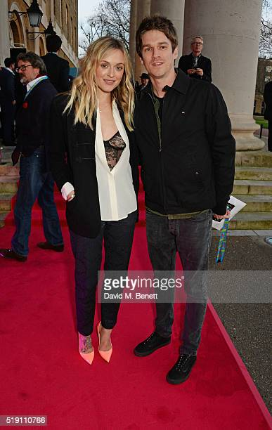 Fearne Cotton and Jesse Wood attend a private view of 'The Rolling Stones Exhibitionism' at The Saatchi Gallery on April 4 2016 in London England