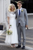 Fearne Cotton and Jesse Wood seen arriving at their wedding reception on July 4 2014 in London England