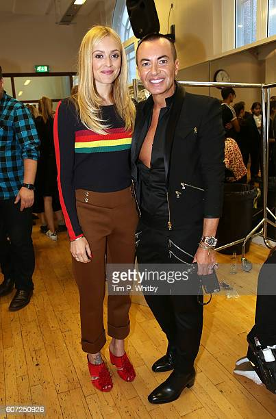 Fearne Cotton and Julien Macdonald backstage ahead of the Julien Macdonald runway show during London Fashion Week Spring/Summer collections 2017 on...