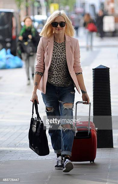 Fearne Cotton arrives at BBC Radio 1 on April 10 2014 in London England