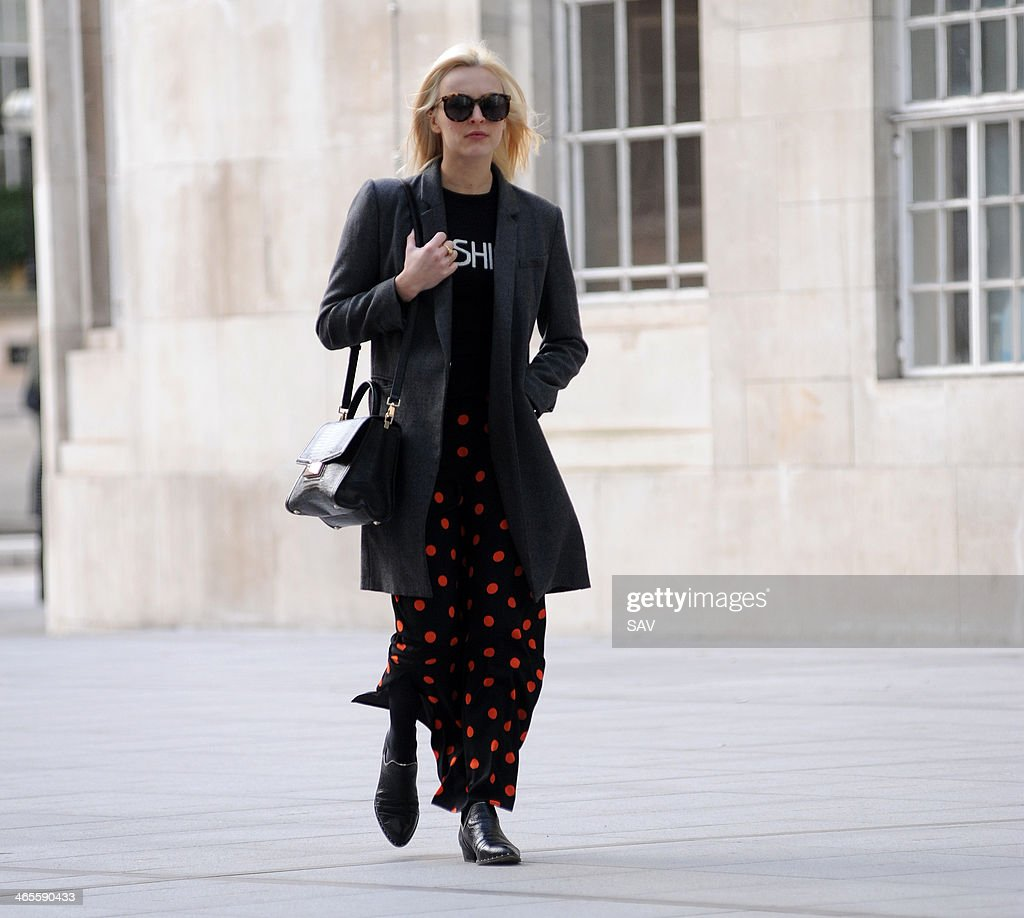 Fearne Cotton arrives at BBC Radio 1 on January 28 2014 in London England