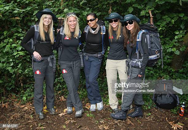 Fearne Cotton Denise Van Outen Alesha Dixon Kimberley Walsh and Cheryl Cole pose for a photograph on the first day of The BT Red Nose Climb of...