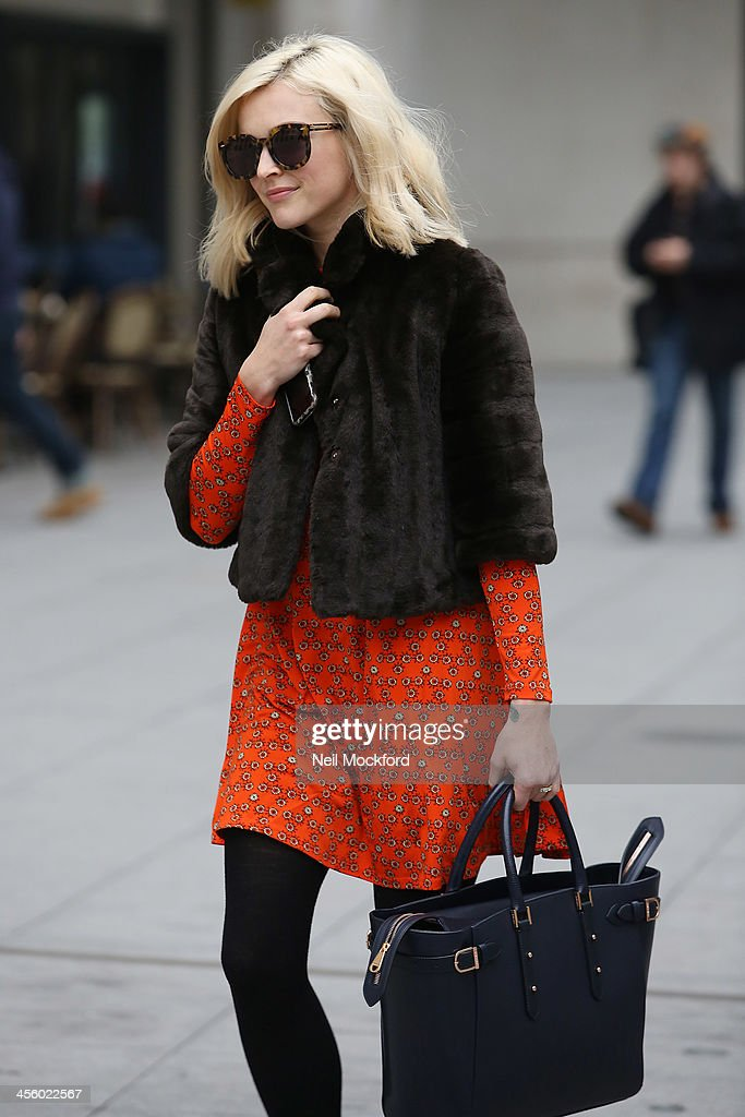 Fearne Cotton leaving BBC Radio One with her new engagement ring on December 13, 2013 in London, England.