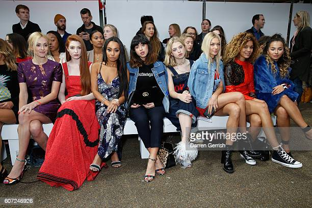 Fearne Cotton Nicola Roberts LeighAnne Pinnock Foxes Pixie Geldof Jessica Hart Izzy Bizu and Ella Eyre attend the House of Holland runway show during...