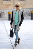 Fearne Cotton pictured arriving at Radio 1 on April 8 2014 in London England
