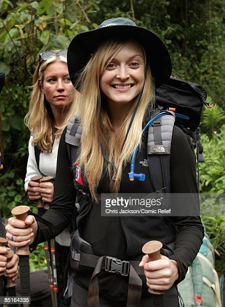 DJ Fearne Cotton prepares to trek up Kilimanjaro on the first day of The BT Red Nose Climb of Kilimanjaro on March 1 2009 in Arusha Tanzania...