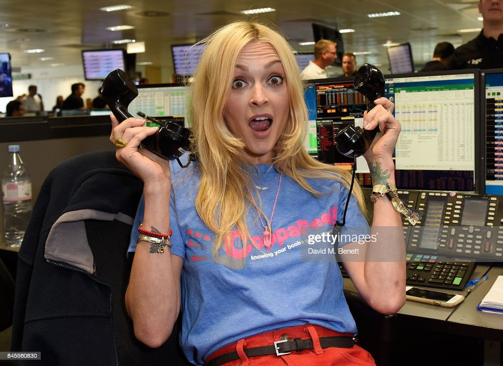 Fearne Cotton, representing Coppafeel! makes a trade at the BGC Charity Day on September 11, 2017 in Canary Wharf, London, United Kingdom.