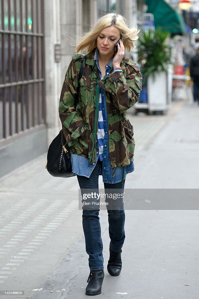 Fearne Cotton sighted arriving at BBC Radio One on April 5, 2012 in London, England.