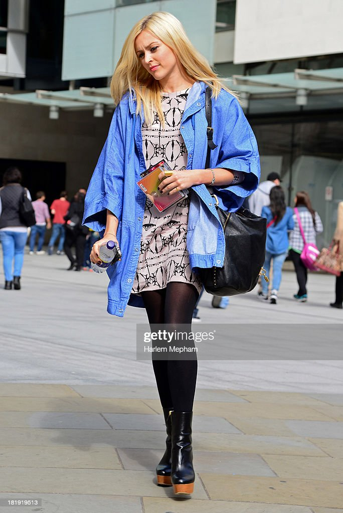 Fearne Cotton sighted leaving BBC Radio One on September 26, 2013 in London, England.