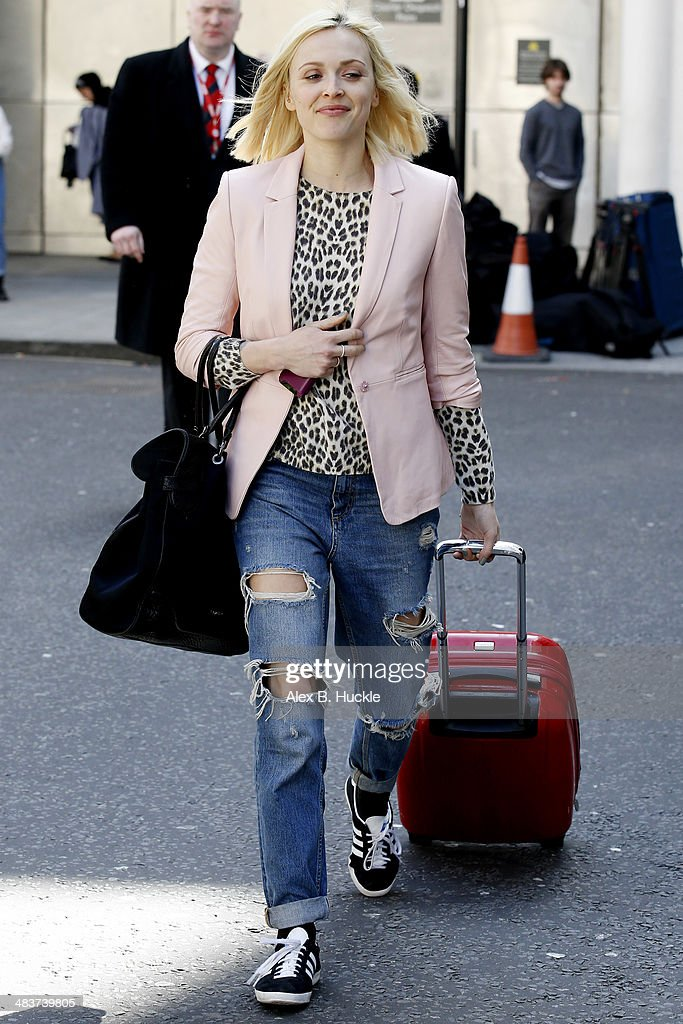 Fearne cotton sighted leaving work from the BBC Radio 1 Studios April 10, 2014 in London, England.