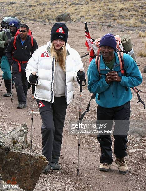 Fearne Cotton treks hard on the third day of The BT Red Nose Climb of Kilimanjaro on March 4 2009 in Arusha Tanzania Celebrities Ronan Keating Gary...