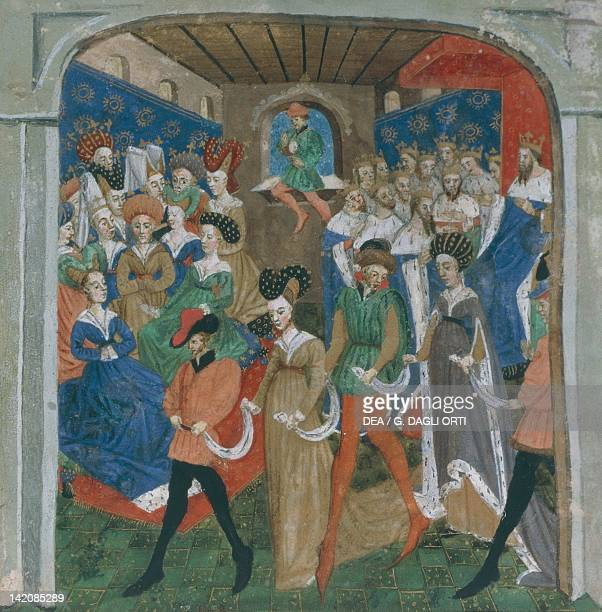 Feast at the King's court miniature from the Holy Grail story manuscript 527 folio 1 France 15th Century