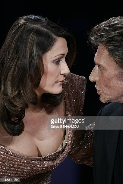 Feast Of The French Song On Tv Channel 2 On January 12Th 2005 In Paris France Daniela Lumbroso And Johnny Hallyday