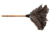 Isolated feather duster with wooden handle