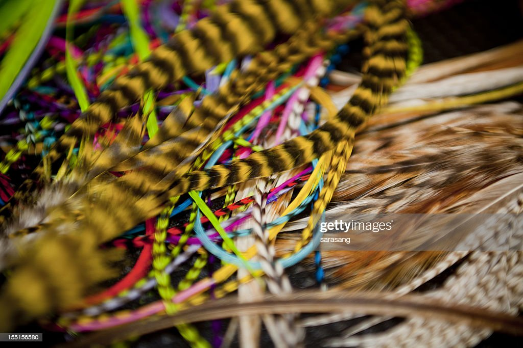 Feather hair accessories close up : Stock Photo