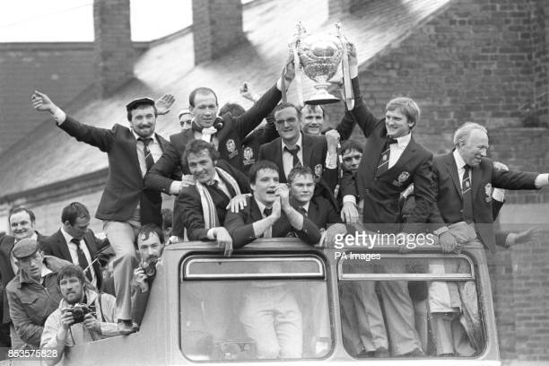 Featherstone Rovers arrive home in an opentop bus as they celebrate their Challenge Cup victory over Hull
