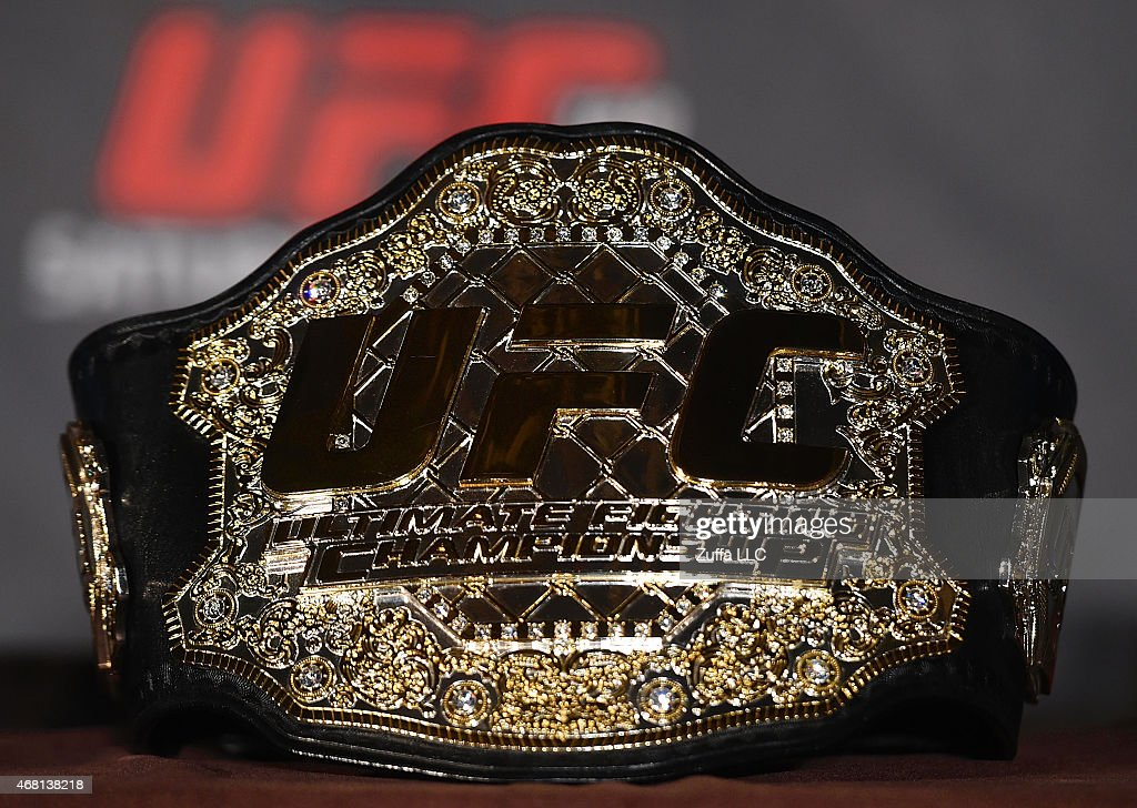 UFC featherweight belt is pictured during the UFC 189 World Championship Press Tour on March 30 2015 in London England