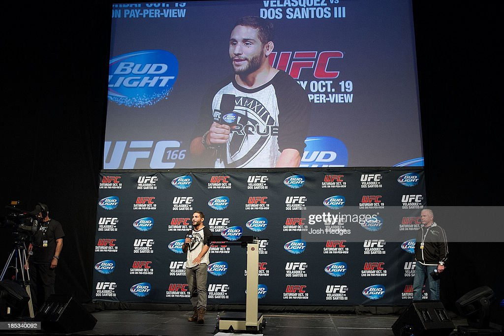 UFC featherweight Chad Mendes interacts with fans during a Q&A session before the UFC 166 weigh-in event at the Toyota Center on October 18, 2013 in Houston, Texas.