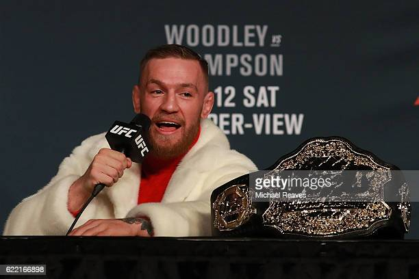 Featherweight Champion Conor McGregor addresses the media during the UFC 205 press conference at The Theater at Madison Square Garden on November 10...