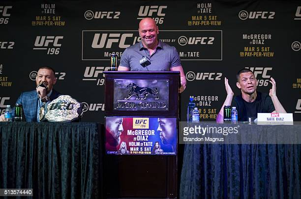 UFC featherweight champion Conor McGregor and Nate Diaz speak to the media during the UFC 196 Press Conference at David Copperfield Theater in the...