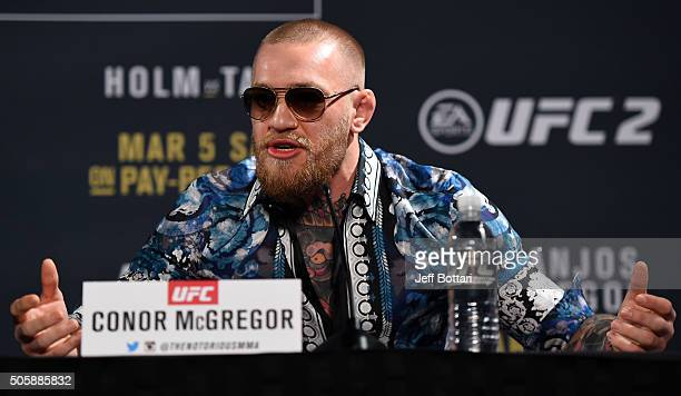 UFC featherweight champion Conor McGregor of Ireland interacts with the crowd during the UFC 197 onsale press conference event inside MGM Grand Hotel...