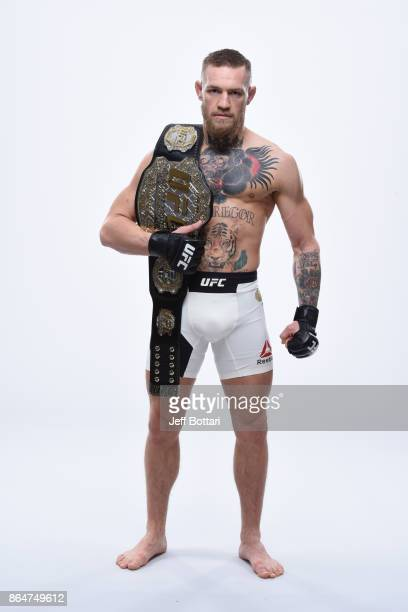UFC featherweight champion Conor McGregor poses for a portrait during a UFC photo session on November 8 2016 in New York City