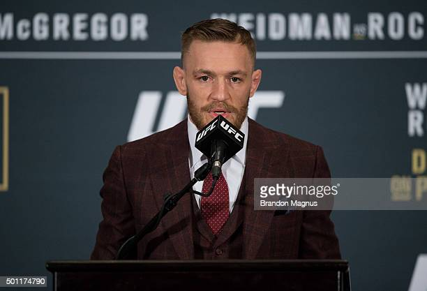 UFC featherweight champion Conor McGregor speaks to the media at the post fight press conference after his 13 second knockout victory over Jose Aldo...