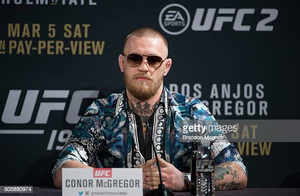 UFC featherweight champion Conor McGregor speaks to the media during the UFC 197 onsale press conference event inside MGM Grand Hotel Casino on...