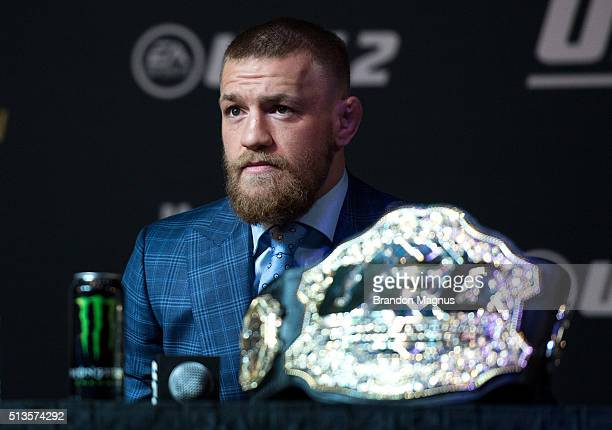 UFC featherweight champion Conor McGregor speaks to the media during the UFC 196 Press Conference at David Copperfield Theater in the MGM Grand...