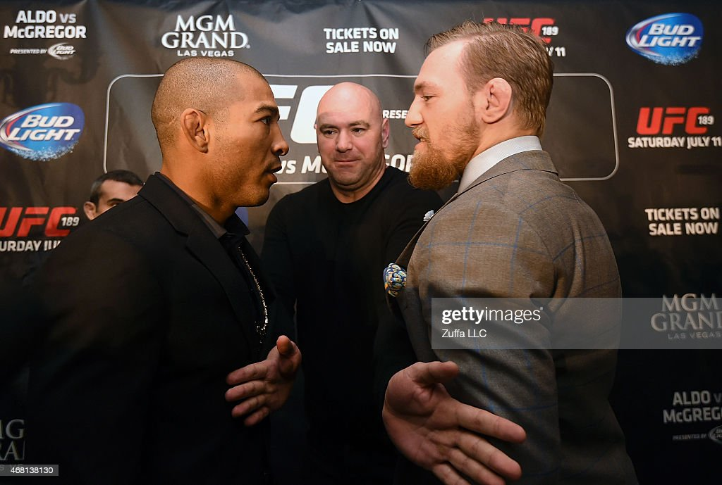 Featherweight Champion Jose Aldo (L) and UFC Featherweight Contender Conor McGregor (R) face off during the UFC 189 World Championship Press Tour on March 30, 2015 in London, England.