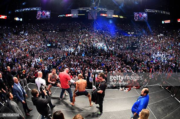 UFC featherweight champion Jose Aldo of Brazil and interim UFC featherweight champion Conor McGregor of Ireland face off during the UFC 194 weighin...