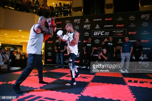 UFC featherweight champion Jose Aldo of Brazil holds an open training session at Barra Shopping on May 31 2017 in Rio de Janeiro Brazil