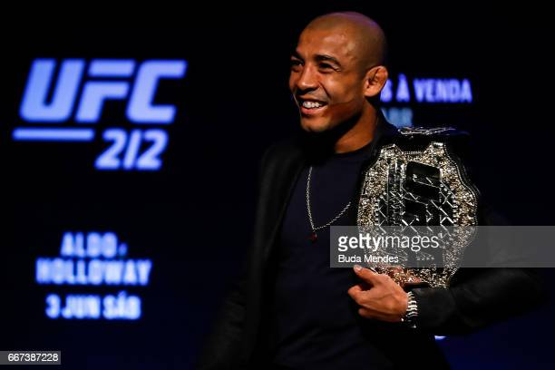Featherweight Champion Jose Aldo of Brazil smiles during the UFC 212 press conference at Morro da Urca on April 11 2017 in Rio de Janeiro Brazil