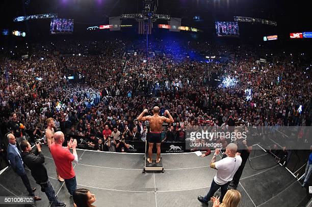 UFC featherweight champion Jose Aldo of Brazil weighs in during the UFC 194 weighin inside MGM Grand Garden Arena on December 10 2015 in Las Vegas...