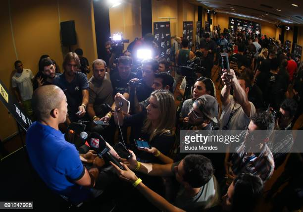 UFC featherweight champion Jose Aldo speaks to the media during Ultimate Media Day at Windsor Hotel on June 01 2017 in Rio de Janeiro Brazil