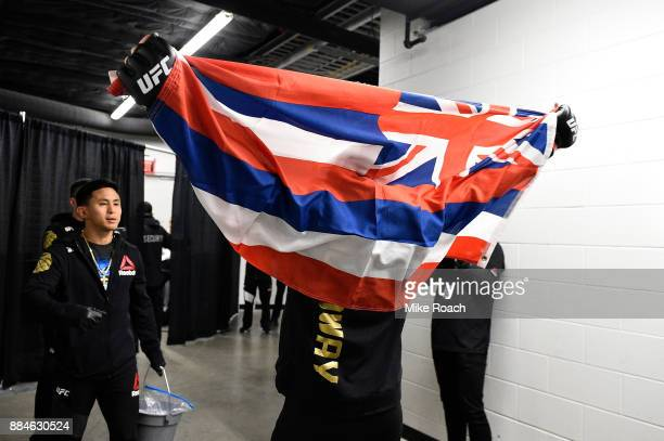 UFC featherweight champion Max Holloway warms up backstage during the UFC 218 event inside Little Caesars Arena on December 02 2017 in Detroit...
