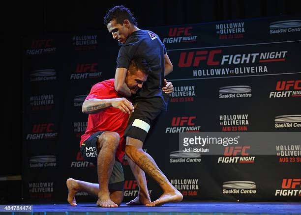 UFC featherweight Charles Oliveira holds an open training session for fans and media at the O'Brians Event Centre on August 21 2015 in Saskatoon...