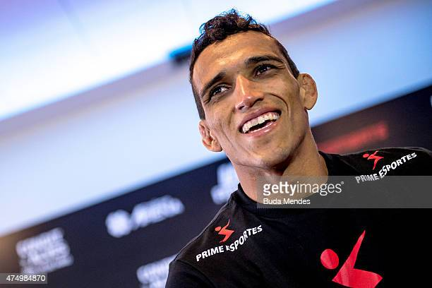 Featherweight Charles Oliveira of Brazil speaks during an open training session for media at Flex Alphaville Gym on May 28 2015 in Goiania Brazil