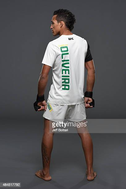 UFC featherweight Charles Oliveira poses for a portrait during a UFC photo session at the Saskatoon Inn Conference Centre on August 19 2015 in...