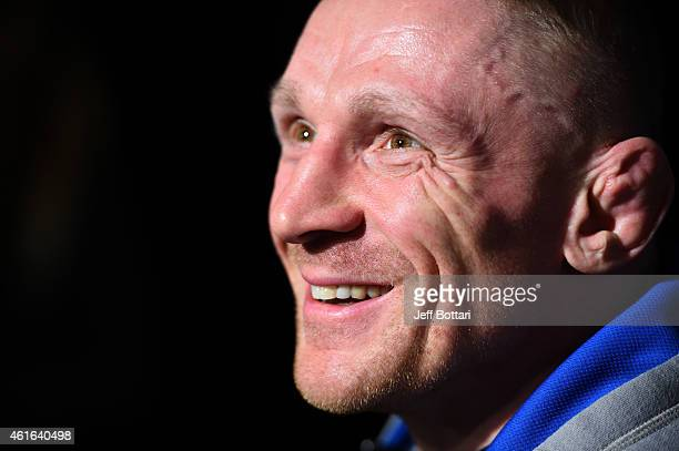 UFC featherweight Dennis Siver of Germany interacts with media at Faneuil Hall on January 16 2015 in Boston Massachusetts