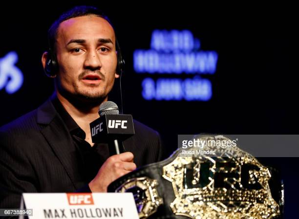 Featherweight Max Holloway of the United States attends the media during the UFC 212 press conference at Morro da Urca on April 11 2017 in Rio de...
