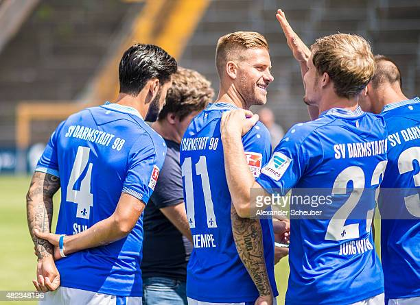 Feature Aytac Sulu Tobias Kempe and Florian Jungwirth during the team presentation of SV Darmstadt 98 at MerckStadion am Boellenfalltor on July 30...