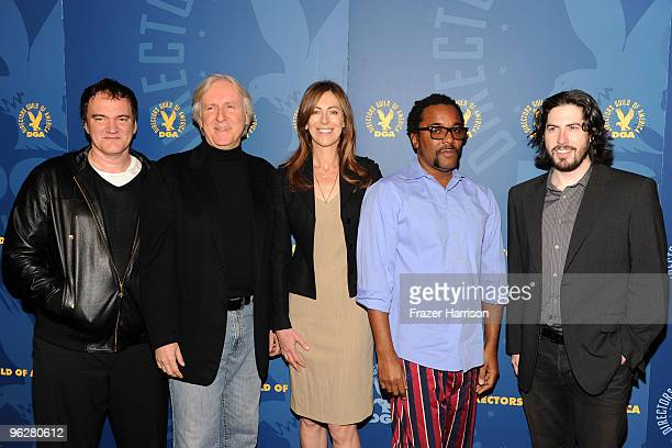DGA feature film director nominees Quentin Tarantino James Cameron Kathryn Bigelow Lee Daniels and Jason Reitman attend the 62nd Annual Directors...