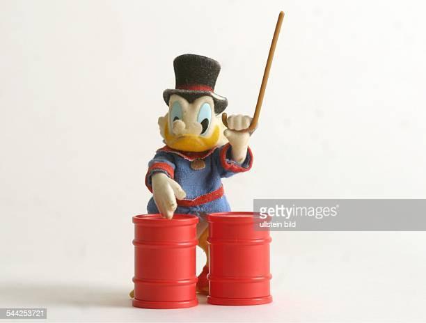 Feature Oel Figur Dagobert Duck mit Oel Faessern
