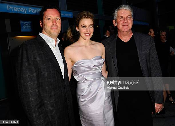 Features' Andrew Karpen actress Greta Gerwig and Focus Features' John Lyons arrive at the Los Angeles Premiere of 'Greenberg' at ArcLight Cinemas on...