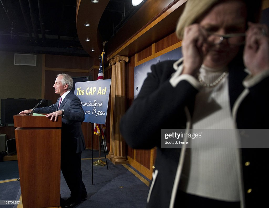 Sen. Bob Corker, R-Tenn., and Sen. Claire McCaskill, D-Mo., at the end of a news conference unveiling legislation that would put caps on future federal spending in an effort to rein in the nationÕs growing debt.