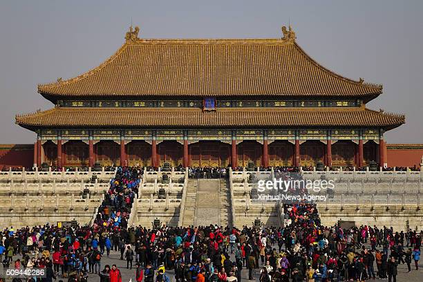 BEIJING Feb 10 2016 Tourists visit the Palace Museum also known as the Forbidden City during the Spring Festival holidays in Beijing capital of China...