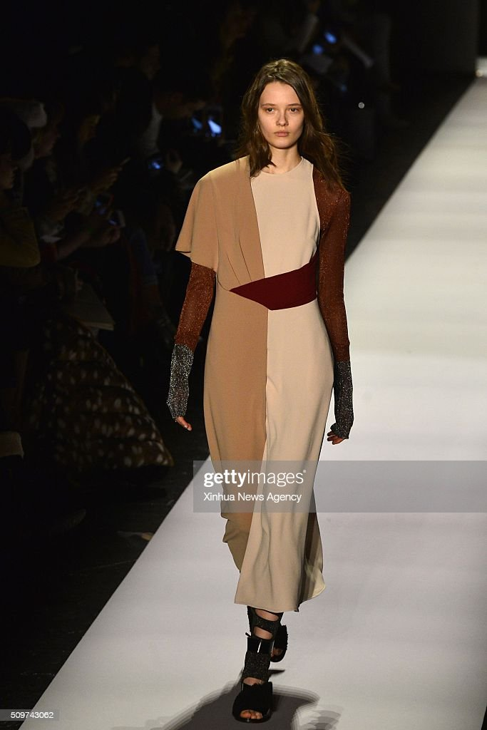 NEW YORK, Feb. 11, 2016-- A model presents a creation of the Fall/Winter 2016 BCBGMAXAZRIA collection during the New York Fashion Week in New York, the United States, on Feb. 11, 2016.