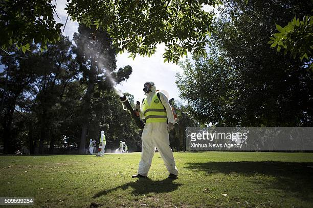 AIRES Feb 11 2016 Argentina's Environment and Public Space Ministry fumigation brigade members spay insecticide in an area of Saavedra Park in an...
